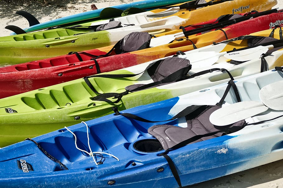 kayak rowing boat canoeing colorful